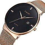 LIGE Mode Klassisch Unisex Damenuhren Herrenuhren Gold Schwarz Luxus Wasserdicht Edelstahl Mesh Armbanduhr Analoge Quarz Datum Uhr 9801