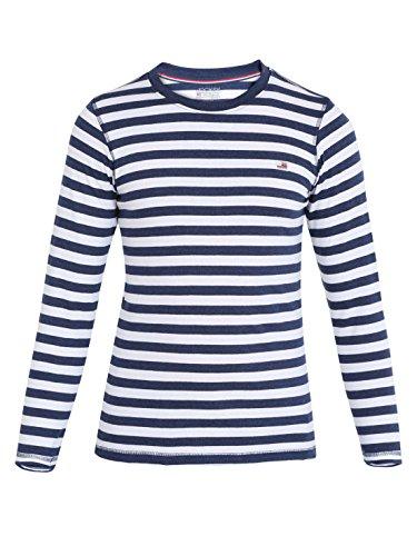 Jockey Boys' Cotton Crew Neck T-Shirt (UB15-0105-Ink Blue Melange and White_8)