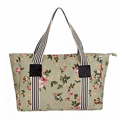 Fortuning's JDS® Stile vintage bag floreale tela stampata scuola borsa verde