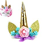 Einhorn Tortenaufsatz, Einhorn Happy Birthday Twinkle DIY Glitzer ersten Geburtstag Cupcake Topper Kuchen Smash Kerze Alternative Party handgefertigt, aixin Unicorn Cake Topper-gold
