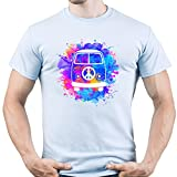 Hippie Van Peace Sign Herren T-Shirt Hellblau XL