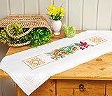 Kamaca Stickpackung Natur Kreuzstich vorgezeichnet aus 100% Baumwolle zum Selbersticken (40x100 cm Tischläufer)