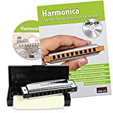 CASCHA HH 1600 FR Blues Harmonica Set - Harmonica avec livre d'instruction en français + CD
