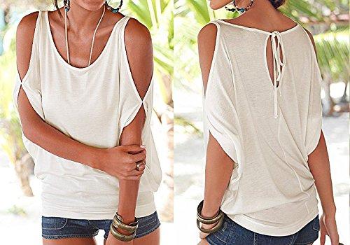 IHRKleid Damen T-Shirt Schulterfrei kurze Ärmel Bluse Sommer Loose Tops Weiß