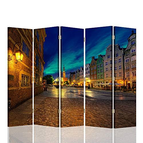 Feeby Biombo Decorativo Paisaje 5 Paneles 360° Ciudad Arquitectura Az