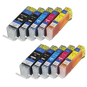 Lot de 10 cartouches d'encre pGI550XL cLI551XL pour canon avec puce et indicateur de niveau de remplissage pour canon pixma mG6400 mG6450, mG6600 mG6650 mX720, mX725, mX925, mX920 iX6800, iX6850 et cLI551BK remplace les modèles pGI550BK, cLI551C, cLI551M, cLI551Y