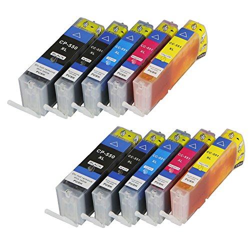 Preisvergleich Produktbild 10 Druckerpatronen für Canon PGI550XL CLI551XL MIT CHIP und Füllstandanzeige für Canon Pixma MG6400, MG6450, MG6600, MG6650, MX720, MX725, MX920, MX925, iX6800, iX6850 kompatibel zu PGI550BK, CLI551BK, CLI551C, CLI551M, CLI551Y
