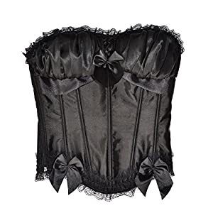 """El celibato 53055942.008XL - Burlesque àÅ""""berbrust corsé portador con encajes y cintas - Large XL, negro"""