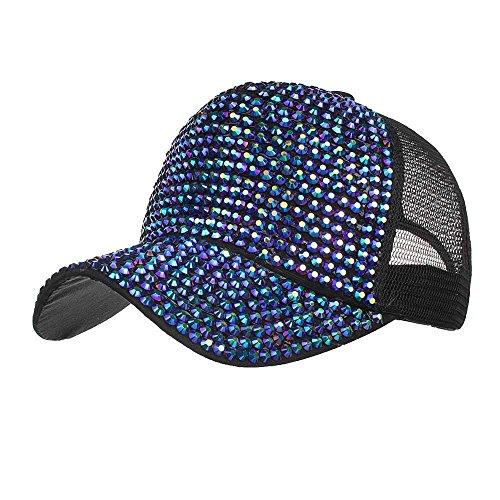 BURFLY Damen Casual Strass Cap, Frauen-Strass-Hüte weiße Baseballmütze Bling Diamond Hat ()