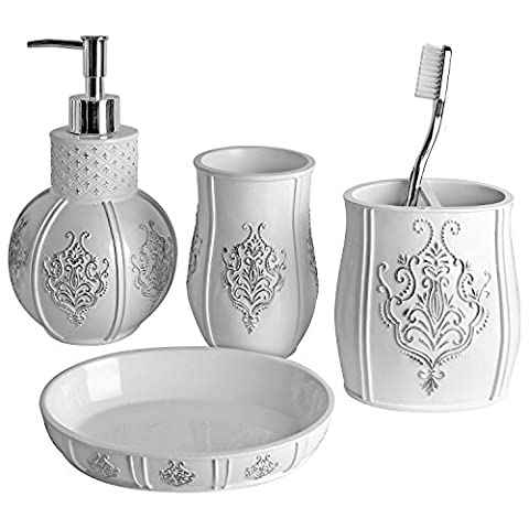 Vintage White Bathroom Accessories, 4 Piece Bathroom Accessories Set, Bathroom Set Features French Fleur-De-Lis Motifs, Soap Dispenser, Toothbrush Holder, Tumbler & Soap Dish - White Glossy - Bath Gift Set by Creative Scents