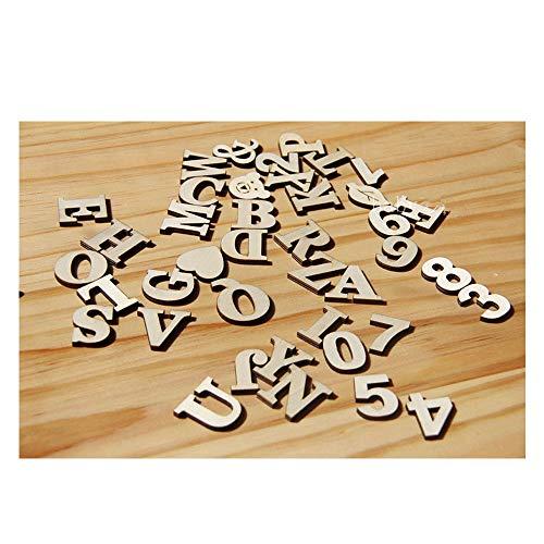 77 Stücke Holz Buchstaben Holz Kleinbuchstaben Hölzerne Zahlen für Kunst Handwerk DIY Dekoration Display,Schule, Familienhandwerk, Digitale Spiele,Werbung Dekoration(Selbstklebend)