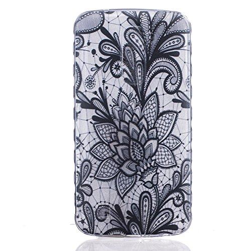 Cozy Hut Crystal Case Hülle für LG K10 aus TPU Silikon mit Black Rose Design - Schutzhülle Cover klar in schwarz Weiß Transparent - Black Rose