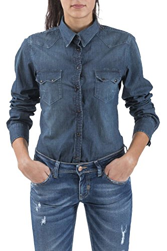 Meltin'Pot - Camicia Jeans CLEA D2006-UD321 modello western look denim per donna - taglia small