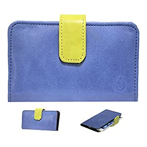 Jo Jo A8 Nillofer Leather Carry Case Cover Pouch Wallet Case For Spice Stellar 518 Dark Blue Parrot Green