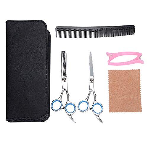 ASIV Haarscheren Friseurschere Set 6 Zoll 17 cm aus rostfreiem Edelstahl - inkl. 1 x Haarschere, 1 x effilierschere, 1 x Kamm, 2 x Haarklammer, 1 x Tuch und 1 Ledertasche
