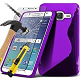 ( Purple ) Samsung Galaxy J3 2016 Specifically Designed S-Line Wave Design Gel Case Also Comes With LCD Tempered Glass Screen Protector Guard, Polishing Cloth & Retractable Stylus Pen Stylus Pen Exclusive To Spyrox
