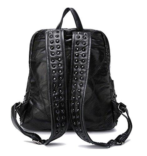 Z&N Europa die Vereinigten Staaten das echte Schaffell Handtaschen Rucksäcke Umhängetaschen Mode Nieten Taschen Handtaschen Büro Party Einkaufen Party Datum Reisen black