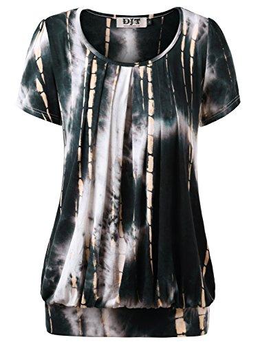 DJT Femme T-shirt Manches courtes Hauts Plisse devant Casual Tops en Ete Noir-Jaune