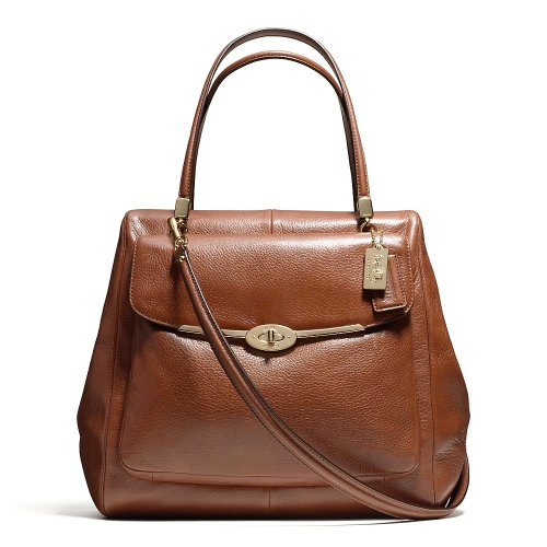 Coach Madison North South Satchel In Leather Chestnut