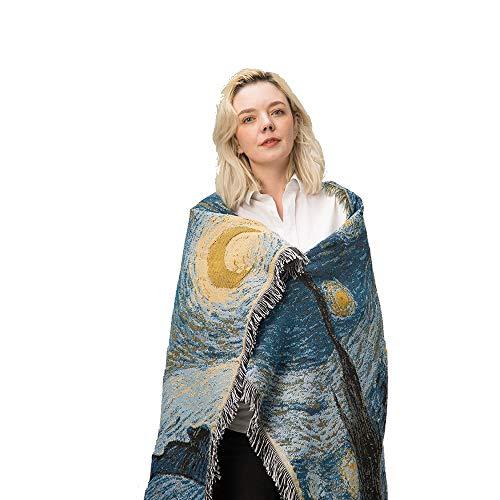 WAWY Klassische Strickdecke Van Gogh Star Night Star Blanket Leichte hypoallergene Anti-Falten-Decke...