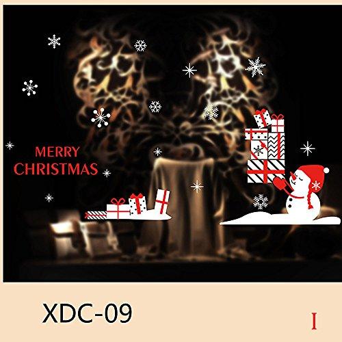 Junjie Nenu Weihnachtsschneemann Entfernbar Home Vinyl Mehrfarbig Fenster Wandaufkleber Abziehbild Dekor Größe: Über A: 45 * 33 * 55 cm