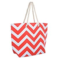 Ladies Red Chevron Canvas Beach Shoulder Bag Tote Shopping Reuseable Handbag