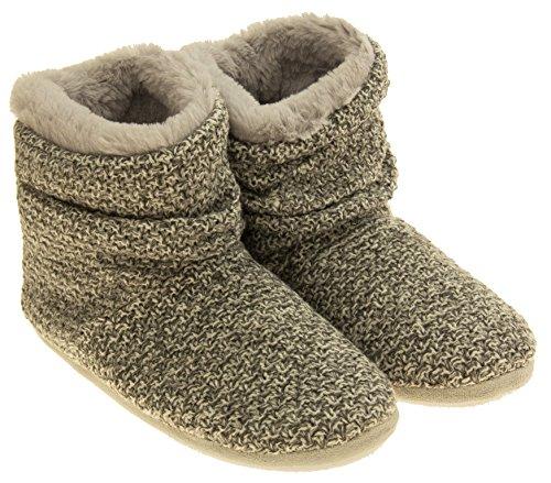 Femmes Coolers chaud hiver tricoté fourrure doublé bottes pantoufle Gris