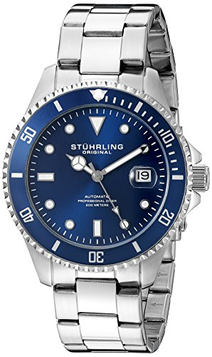 Stuhrling Original Men's Automatic Watch with Blue Dial Analogue Display and Silver Stainless Steel Bracelet 792.02