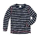 wellyou Baby Langarm-Shirt, dunkel-blau weiß gestreift, Kinder Longsleeve geringelt, für Jungen und Mädchen, Baumwoll-Feinripp, 104 - 110cm, Blau