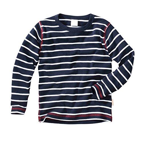 wellyou Baby Langarm-Shirt, dunkel-blau weiß gestreift, Kinder Longsleeve geringelt, für Jungen und Mädchen, Baumwoll-Feinripp, 140 - 146cm, Blau - Und Gestreiften Weiß Stoff Blau