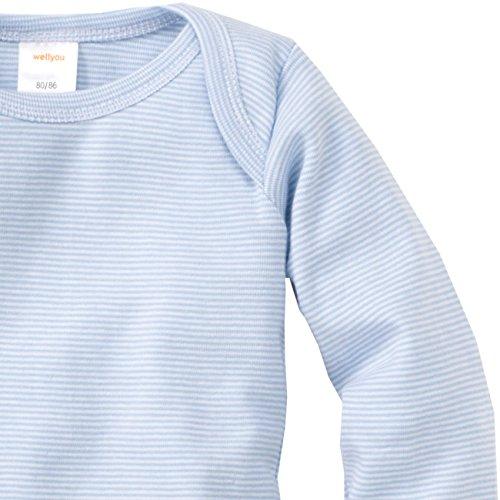 der Baby-Body Langarm-Body, hell-blau weiß gestreift, geringelt, für Jungen und Mädchen, Feinripp 100% Baumwolle, Größe 116 - 122 (Kaufen Mädchen)