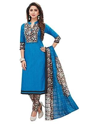 Ishin Cotton Blue & Black Printed Unstitched Salwar Suit Dress Material (Anarkali/Patiyala) With Cotton Dupatta