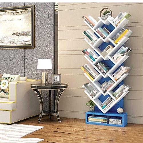 Bücherregal-Baum-Form-stehendes Hohes Kapazitäts-Kind-Wohnzimmer-Schlafzimmer Einfach Und Modern ( Farbe : Blau )