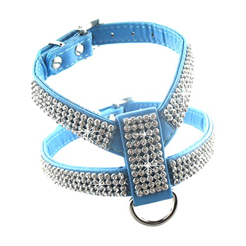 Eizur Regolabile Cani Pet Cane Dog Harness Chest Strap PU & Bling strass Cablaggio dell'animale domestico Cablaggio toracica Cintura con Diamanti Easy Fit Durevole Size S- Blu