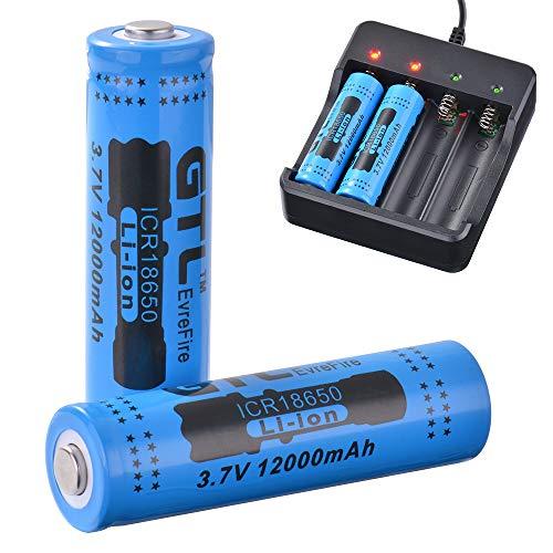Kreema 2Pcs Genuine GTL 18650 Akku 3.7V wiederaufladbare Li-Ion 12000mAh Blau - 18650 Lithium-batterie