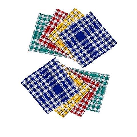 Bricout-Linge : Lot de 8 Serviettes de table carreaux Normands - 100% coton - 210 gr/m2 - dimensions : 50x50 cm - LABEL OEKO-TEX coloris assortis