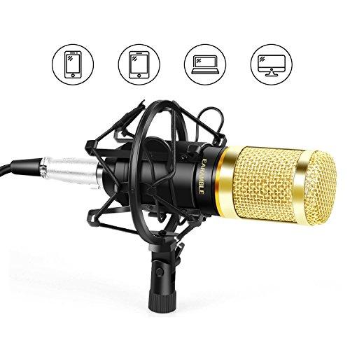 Earamble Professional Kondensator Mikrofon & Aufnahme Mikrofon für Handy, Youtube, Podcasting, Twitch, Games Broadcast, kompatibles mit Telefon, Computer, Laptop, Mac ( braucht Headset und Splitter),Schwarz
