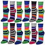 6 oder 12 Paar Damensocken Baumwolle Ringel ohne Naht Damen Socken Geringelt - 11979 (35-38, 12 Paar | Farbmix)