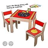 Labebe Mobili Soggiorno Bambini Tavolo & Sedie Set con Lavagna per la pittura / lettura / gioco di gruppo in classe e in casa, regalo creativo per i piccoli 1-5 Anni- Mele Rosa (1 Tavolo e 2 Sedie)