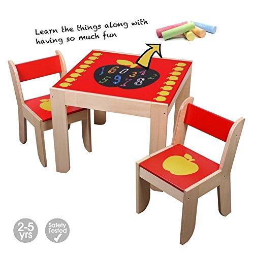 Labebe Kindertisch Holz, Roter Apfel Baby Tisch Stuhl Für 1-5 Jahre Alt, Activity Tisch/Kinderstuhl/Kinder Tisch Holz/Ausziehbar Stuhl Tisch/Kinderzimmer Tisch Stühle/Kinder Tisch/Echtholz Tisch