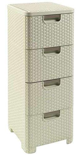 Home 4 Schubladen Kommode (CURVER Regal mit 4 Schubladen STYLE Regal mit 4 Schubladen, Polypropylene, cremig, 33x38x79)