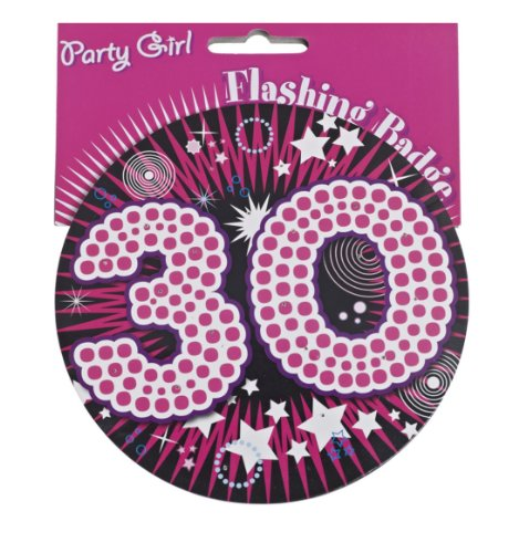 30th Birthday Flashing Badge