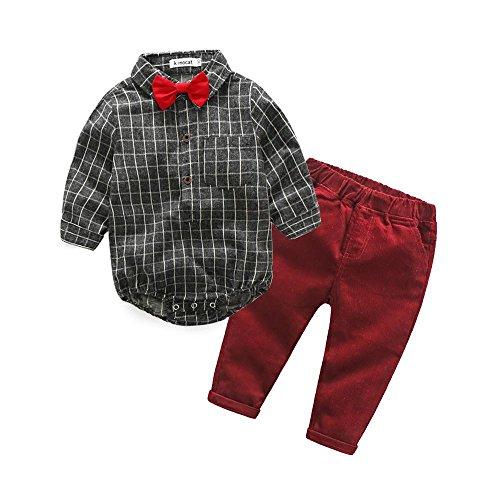 QUICKLYLY 2pcs Bebé Niños Suave Rejilla Impresión Arco Corbata Largo Manga Blusa Mameluco + Elestic Pantalones Trajes Conjunto (12~18 Meses)