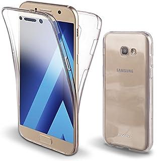 Moozy 360 Grad Hülle für Samsung A3 2017 - Vorne und Hinten Transparenter TPU Ultra Dünn Weiche Silikon Handyhülle Case für Galaxy A3 2017