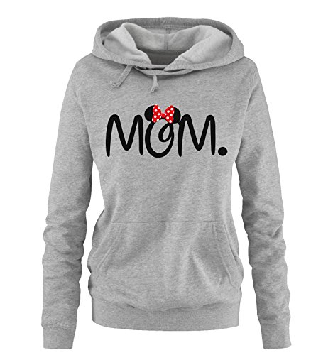 Comedy Shirts - MOM. Minnie - Damen Hoodie - Grau/Schwarz-Rot Gr. M