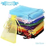 Wanap Organza Bags, 100pcs 7x9cm Wedding Favour Bags Party Gift Bags, White Jewellery Bags Small