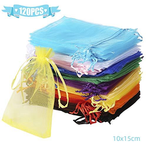 Wanap 120 Stück Säckchen Organzabeutel, Organza Säckchen 10x15CM Lavendelsäckchen Säckchen zum Befüllen für Partei Schmuck Süßes Hochzeit, Bunt