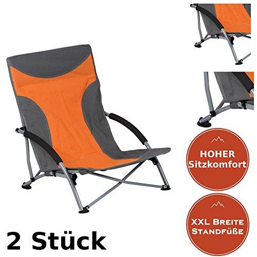 Strandstuhl im 2er-Set | bequemer + extra stabiler Strandstuhl | Extra breite Standfüße für...