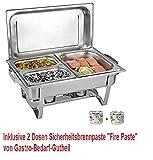 Gastro-Bedarf-Gutheil Chafing Dish Edelstahl, Bestehend aus: 1 Gestell mit Deckelhalterung, 1 Wasserbecken 3 Speisebehälter 2 x GN 1/4 - Tiefe 65 mm + GN 1/2 - Tiefe 65 mm + 2 x Brennpaste
