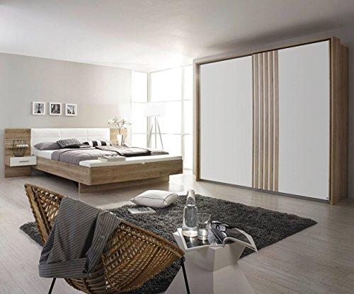 lifestyle4living Schlafzimmer, Schlafzimmereinrichtung, 4-teilig, Schwebetürenschrank, Schiebetüren, Bettanlage, Nachttische, Polsterbank, Eiche Sanremo,